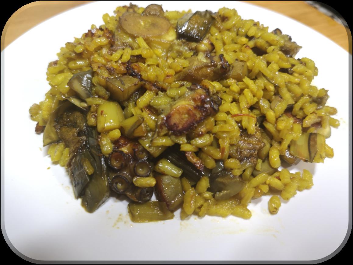 Paella de pulpo y alcachofa